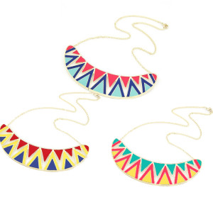 N-4504 Colorful Rainbow Enamel Triangle Hollowed Gold Metal Bib Collar Necklace