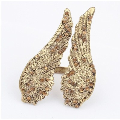 R-1029 yellow Rhinestone Double Fly Wings Opened Ring #5 Size