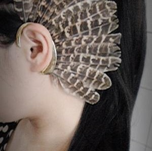 E-0598 * New Unique 1Pc(Left)Unisex Big Feather Ear Cuff Non Piercing Gold Earring