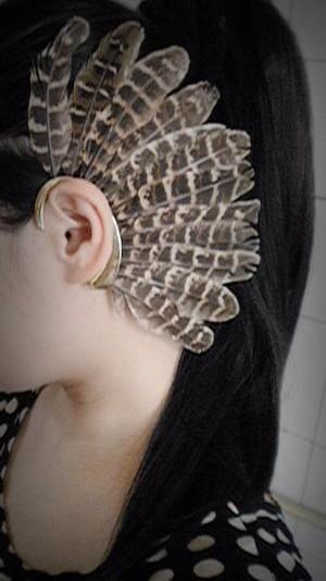 E-0598 * New Unique 1Pc(Left)Unisex Big Feather Ear Cuff Non Piercing Gold Earring