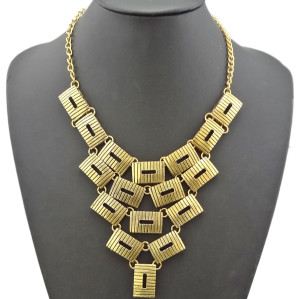 N-1796 New Arrival European Style Vintage Gold  Oblong Hollow Out  Pendant Choker Necklace