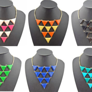 N-4255 European style gold plated metal resin triangle gem choker necklace