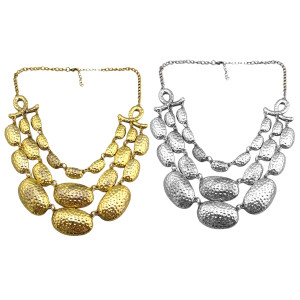 N-1798 New vintage style silver/Gold tone metal multilayer spot egg shape choker necklace