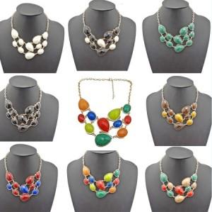 N-0791 New European Fashion Golden Metal Colorful Drop Resin Gem Choker Bib Necklace