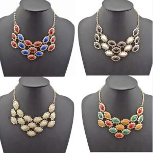 N-0574 New Charming Fashion Cute Drop Flower Resin Gem Choker Bib Necklace