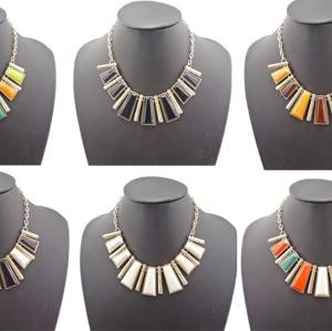 N-0757 New Fashion Resin Gem Geometric Trapezoid Golden Metal Strip Choker Bib Necklace