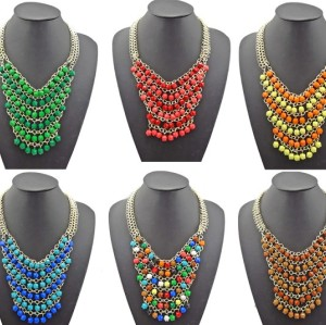 N-0752 New Fashion Resin Gem Beads Multilayer Chain Golden Metal Charming Choker Bib Necklace