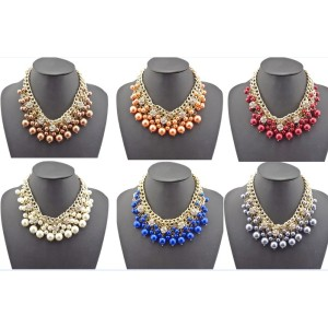 N-1535 New Fashion Charming Faux Pearl Beads Rhinestone Ball Multilayer Chain Golden Metal Choker Necklace