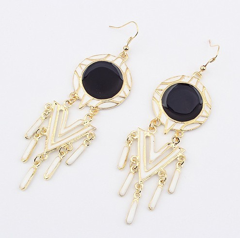 N-2781 New Faux Leather Round Geometrical Pendant Gold Tone Long Chain Necklace earring set S-0017