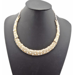N-2102 New gold plated rhinestone pearl collar bib  Necklace