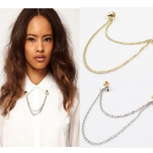 P-0044 New  Arrived European style Double Chain Rivet Brooch Necklace