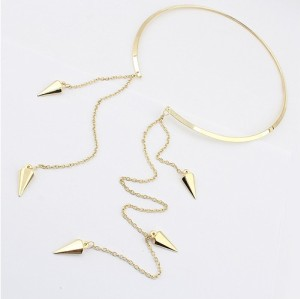 N-2011 New Fashion European Style Golden Rivet Tassel Thin Necklace