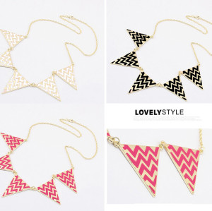 N-4574 New Arrival Gold Plated Enamel Triangle Pendant Choker Necklace