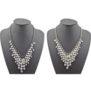 N-1270 New Fashion gold/gun black/silver metal clear crystal tassels choker handmade necklace tassels choker handmade necklace N-1270