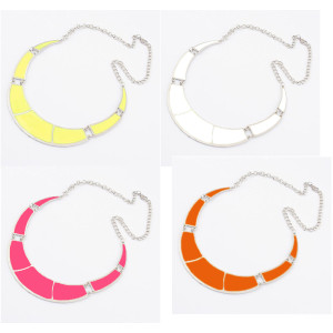 N-4567 New Silver Plated crescent enamel collar bib necklace