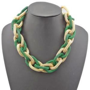 N-1005 New European style golden enamel  Circle snake chain bib necklace