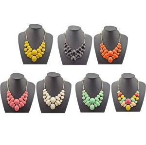 N-0055 New European style golden candy faux gem 7colors statement choker necklace