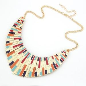 N-4518 New European style gold plated enamel tassels shape collar necklace