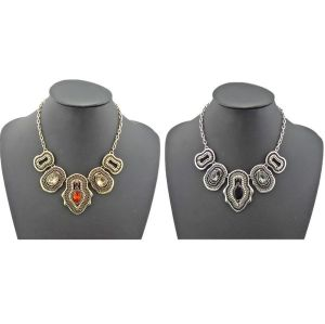 N-1761 New vintage style bronze silver metal beads drip crystal symmetrical necklace