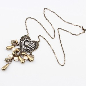 S-0027 New vintage style Bronze Beads Drip Heart Rhinestone Flower Pendant Necklace Earring Set