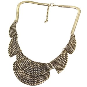 N-1790 New Vintage Style Silver/Bronze Geometric Snake Chain  Choker Necklace