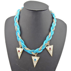 N-1023 New Coming Gold Plated Alloy Multi Chain Colorful Leather Rhinestone Lifelike Eyes Triangle Necklace