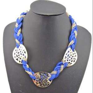 N-1030 New European Style Gold Plated Alloy Multi Chain Colorful Leather Hollow Out Geometry  Necklace