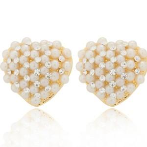 E-1010 New Fashion Charming Lovely Rhinestone Pearl Heart Ear Stud Earring
