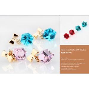 E-1504 New Fashion Charming Cute Bowknot Water Cube Crystal Ear Stud Earring