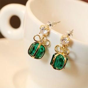 E-0262 New Charming Golden Bowknot Crystal Pendant Ear Stud Earring