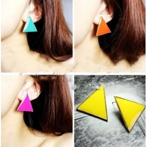E-2003 New European Style Gold Plated Alloy Colorful Enamel Geometry Triangle Ear Stud Earring