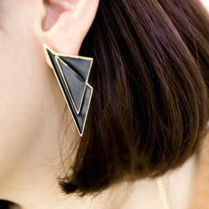E-2027 New European Style Gold Plated Alloy Glazed Geometry Triangle Ear Stud Earring