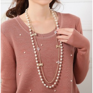 N-1530 New  Arrived Fashion Charming Gold Boeknot Pearl Double Chain Necklace