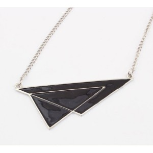 N-4569 New Fashion European Style Silver/Gold Plated Enamel Abstract Triangle Pendant Necklace