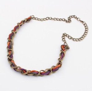 N-1308 New Arrival Folk Style Vintage Style Bronze Link Metal Leather Chain Necklace