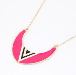 N-4566 New Arrival Fashion Punk Enamel Semi-circle Whit triangle Pendant Necklace