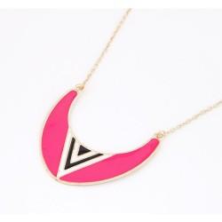 N-4566 New Arrival Fashion Punk Enamel Semi-circle Whit triangle Pendant Necklace