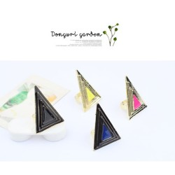 R-0736 New Punk Fashion Cool Gold Plated Metal Enamel Triangle Ring