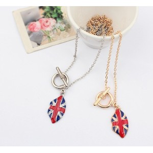 N-0032 New Arrival Fashion Gold/Silver Plated Metal Enamel Flag Long Necklace