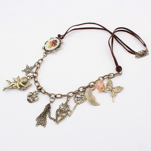 N-0087 New Arrival Bronze Cupid Key Star Butterfly Crown Flower Lovely  Necklace