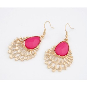 E-0250 New Fashion European Golden Metal Drop Gem Like Peacock Earring
