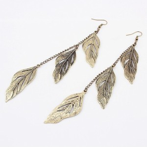E-0605 New European Vintage Bronze Leaf Dangling Lovely Earring