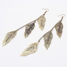 E-0605 New European Vintage Bronze Leaf Dangling Lovely Earring