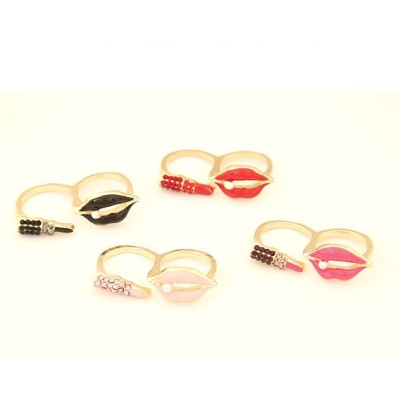 R-0189 New Coming Fashion Gold Plated Metal Enamel Lip Lipstick Double Fingers Ring