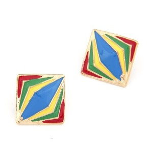 E-2023 New European Fashion Gold Plated Square Colorful Enamel Rhombus Lovely Ear Stud Earring