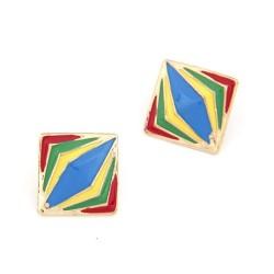 E-2023 New European Fashion Gold Plated Square Colorful Enamel Rhombus Lovely Ear Stud Earring