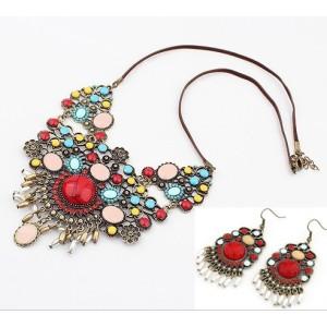 S-0061 New Arrival Bohemia Vintage Bronze Enamel Flowers Choker Necklace Earring Set