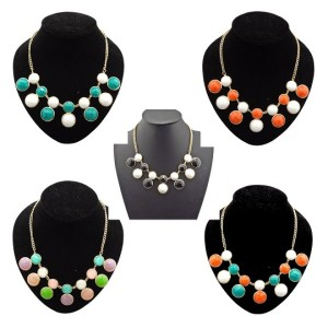 N-4254 New Fashion Lovely Gold Tone Round Resin Gem Stone Choker Bib Necklace