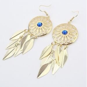 E-0227 New Bohemia Fashion Gold Plated Hollow Out Round Blue Rhinestone Leaf Dangling Earring