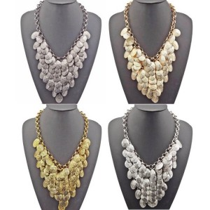 N-1855 New Arrival Fashion Charming Multilay Leaf Tassel Choker Necklace